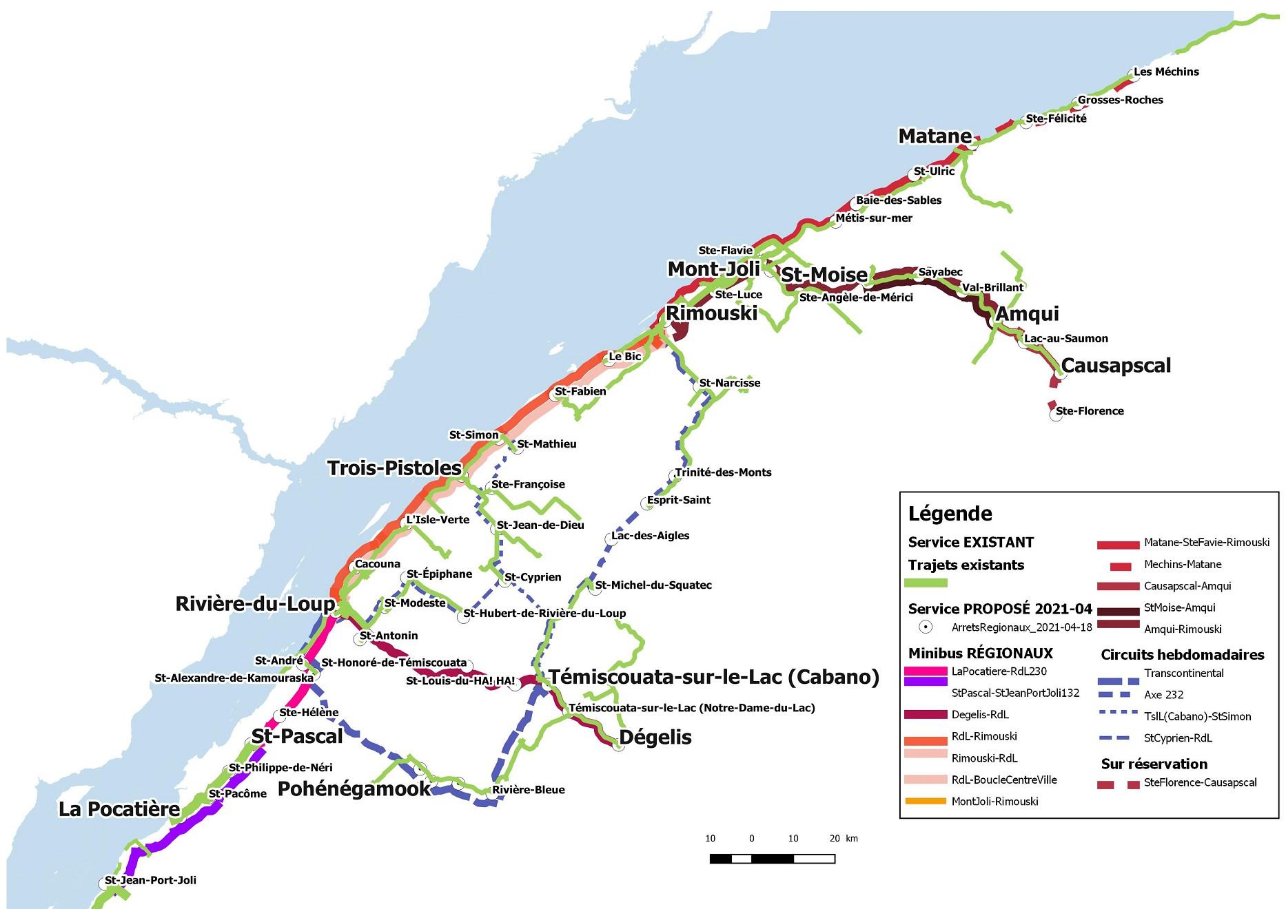 Carte M&T trajets existants et proposés (Auteur : CREBSL)